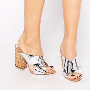 Glamorous Cork Mule Heeled Sandals